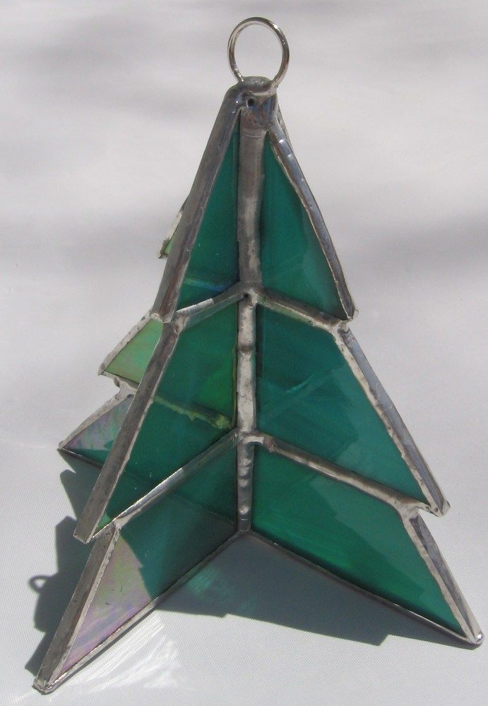 Stained glass d christmas tree ornament by wendy wehe