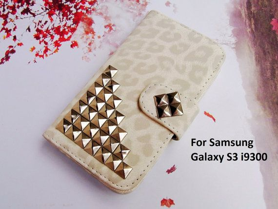 Credit Card Holder Wallet Flip Deluxe LEOPARD style leather 3D Metal Studded Trim pyramid Russian Puzzle Case Cover for Samsung S3 i9300
