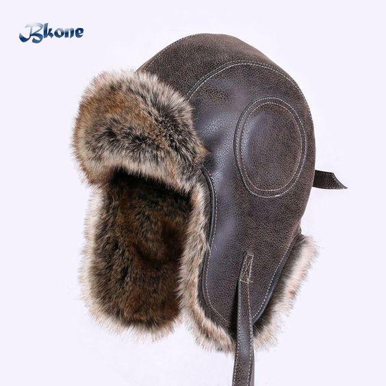 9aa51b2dd2b69 BKONE Faux Leather Fur Winter Warm Plush Earflap Bomber Hats Men Women s Russian  Trapper Hat Aviator