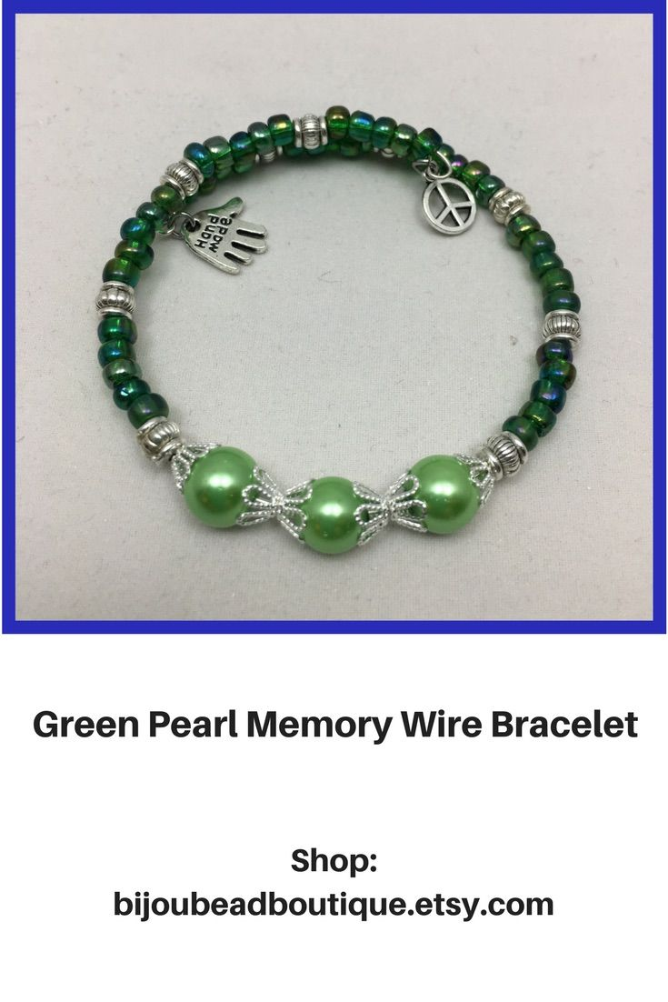 Handcrafted green single coil memory wire bracelet | Pinathon Group ...