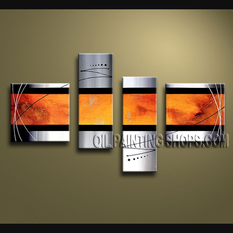 Large Modern Abstract Painting Artist Oil Painting Stretched Ready To Hang Abstract. This 4 panels canvas wall art is hand painted by V.Chua, instock - $135. To see more, visit http://OilPaintingShops.com