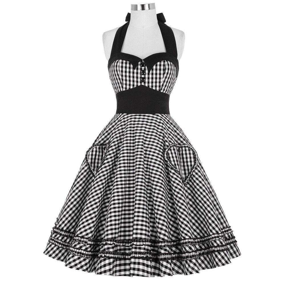 Retro swing pin up plaid s s vintage dress shorts products