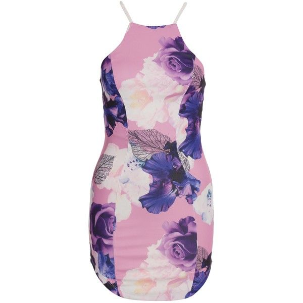 Ginger Fizz Stolen Moments Dress (£32) ❤ liked on Polyvore featuring dresses, tall dresses, round neck dress, pink embellished dress, pink dress and pink cocktail dress