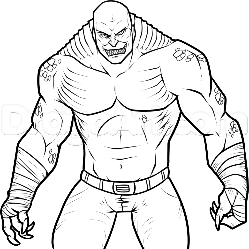 how to draw killer croc from squad step by step dc