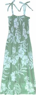 FREE SHIPPING - EVERY ORDER, EVERY DAY!  Puanani Ladies Short Smocked Tube Dress -Green. Ladies Hawaiian Aloha Print Dress, Smocked Tube Top, Comfortable. Tie On Shoulders, Tie Halter style, Go Strapless. Manufacturer: RJC Robert J Clancey Label: Puanani 100% Rayon - Made in Hawaii.
