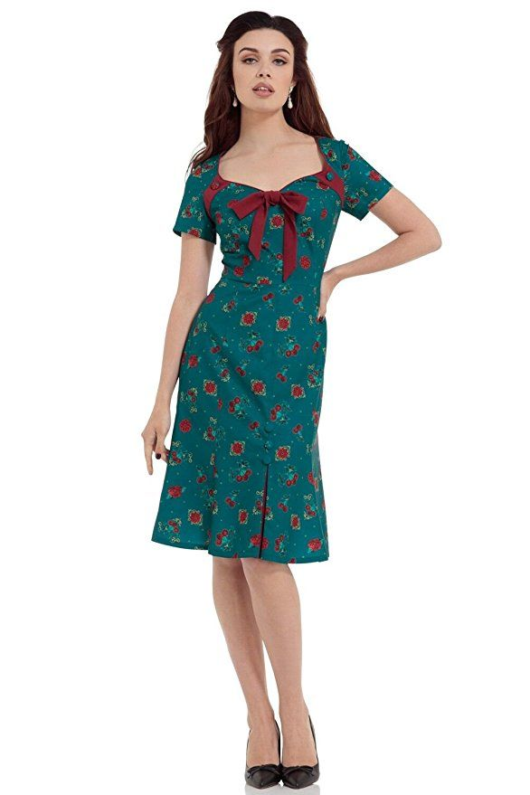 Voodoo Vixen Retro 40s Style Cherry Floral Blossom Vintage Style Dress-Teal-S