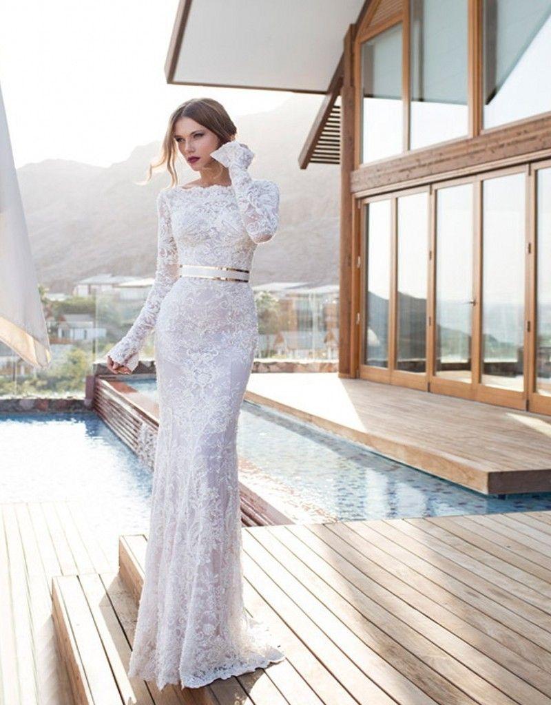 Elegant long sleeve lace sheath wedding dresses with sashes