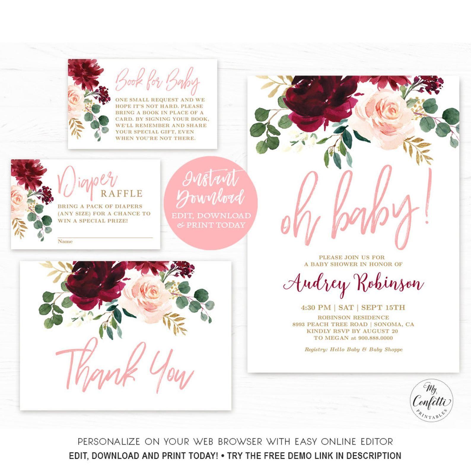 Baby Shower Invitation Girl Burgundy and Gold, Instant Download Printable Baby Shower Invitations Fall Baby Shower Invitation Template