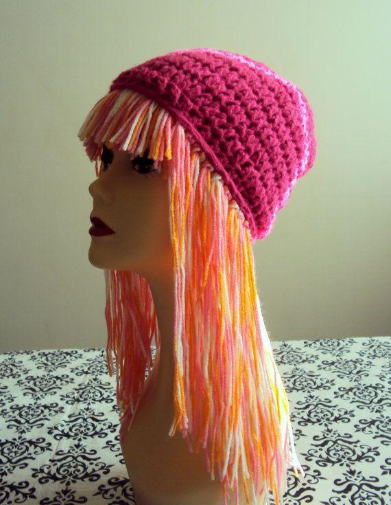ca5064b50f1 Handmade Wig Hat Yarn Hat Crochet Funky Hat Short Braid Pigtails Hat  Festival Hat Women Men Baby to Adult Cute Gift Ideas Under 50by  GrahamsBazaar
