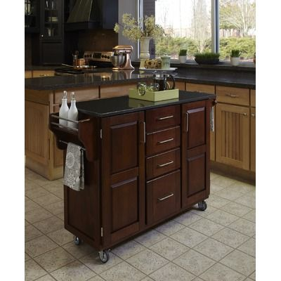 Cherry Kitchen Island Cabinet With Black Granite Countertop There Is Something About The Dark Gran Portable Kitchen Island Kitchen Island Design Kitchen Cart