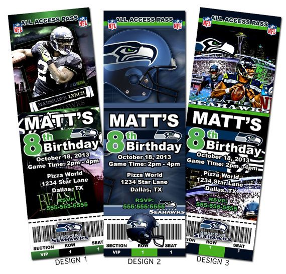 Seattle Seahawks Nfl Custom Party Ticket Invitations On Etsy For