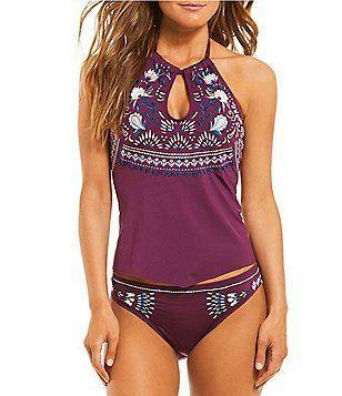 a83df4e7de Gibson & Latimer Embroidered High Neck Scarf Tankini Top & Classic Hipster  Bikini Swimsuit Bottom