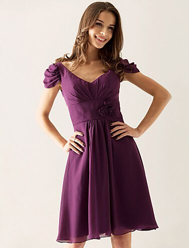 Cheap A-line V-neck Knee-length Chiffon Over Elastic Satin Cocktail Dress Free Measurement