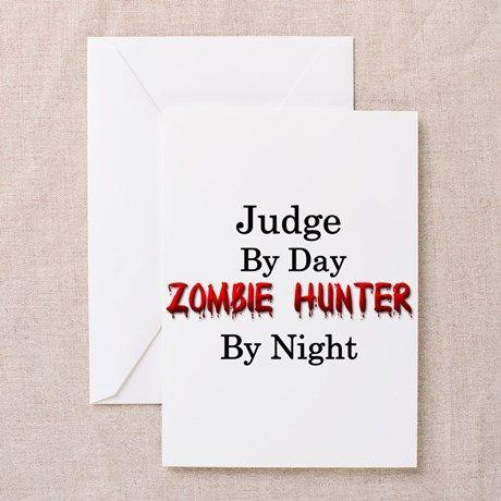 Judgezombie hunter greeting card m4hsunfo
