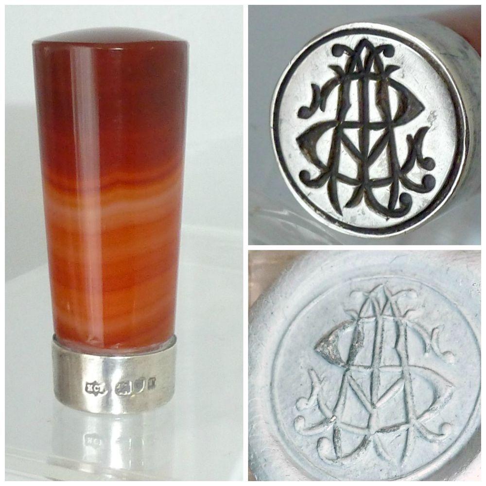 Edwardian Silver Scottish Agate Intaglio wax Seal Monogram Initials #Edwardian