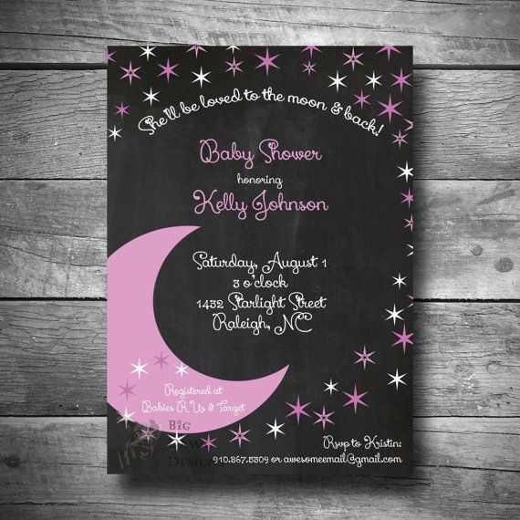 Moon and Stars Baby Shower Invitation in Pink To by BigDawgDesigns
