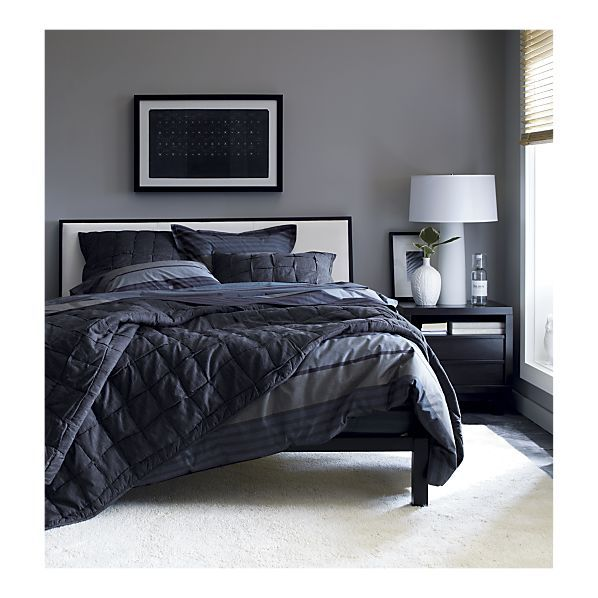 Metallic Masculine Bedroom: Issac Bed, Ledge Java Nightstand. Crate & Barrel. So