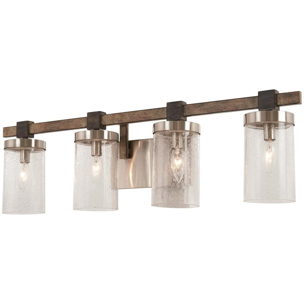 Minka Lavery Bridlewood 4 Light Stone Grey With Brushed Nickel Bath Light With Clear Seedy Glass 4634 106 The Home Depot Farmhouse Vanity Lights Minka Lavery Vanity Lighting