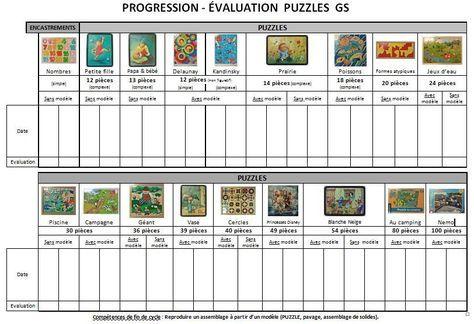Mes progresssions-évaluation puzzles, pâte à modeler, ...   Maternelle, Ateliers montessori gs ...
