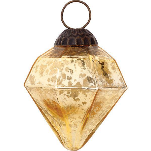 Large Mercury Glass Ornaments (Elizabeth Design, Diamond Shape ...