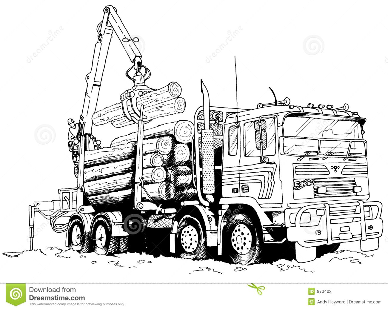 2017 Restful Drawings Logging Truck Truck Art Stock Illustration Trucks