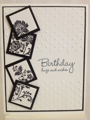 Birthday Card Elegant Hugs & Wishes   Black and White   Pinterest ...