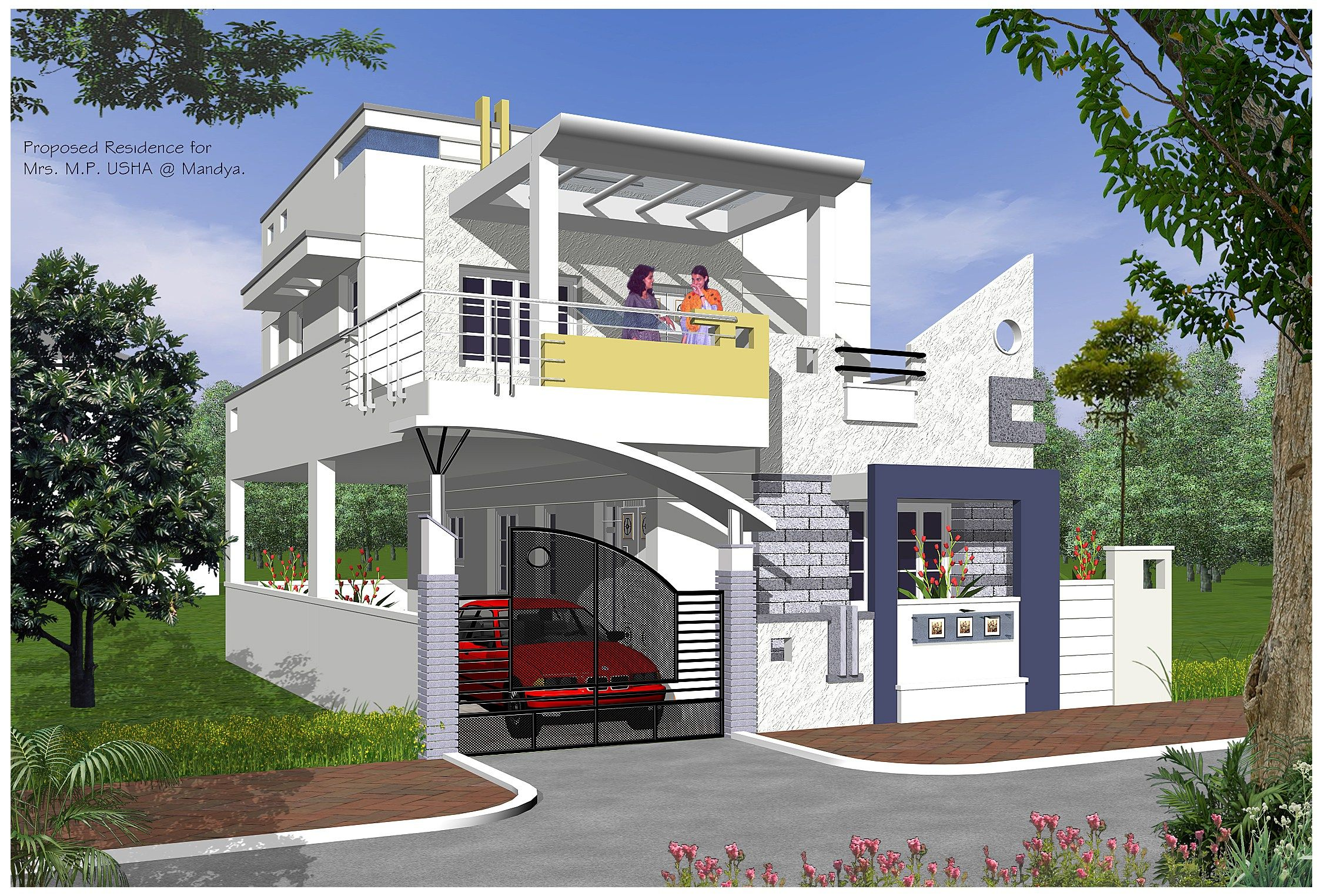 front design of house construction in india