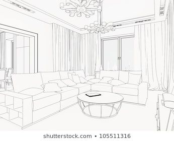 3d Graphical Sketch Of An Interior Living Room Interior Royalty Free Stock Images Interior Design Sketches Interior Design Sketchbook Room Perspective Drawing