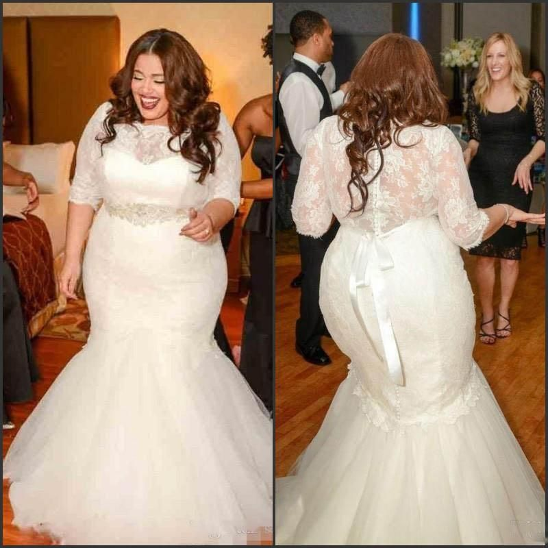 2015 plus size mermaid wedding dresses half long sleeves for Plus size mermaid wedding dresses with sleeves