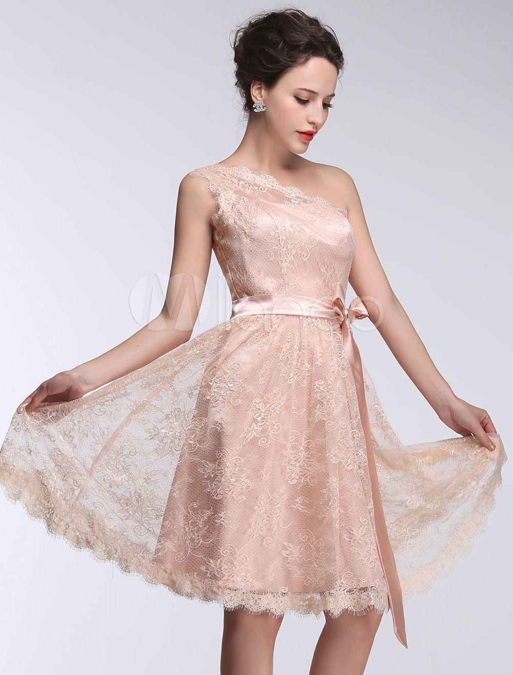 4c9508b154d6 Pink Bridesmaid Dress Lace One Shoulder Short Prom Dress Sleeveless A Line  Ribbon Bow Sash Knee