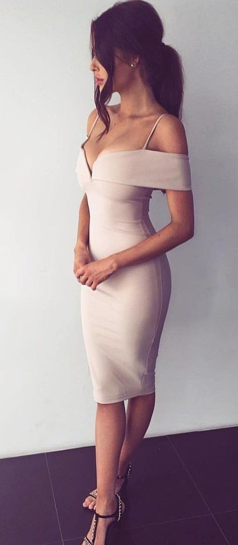 summer #outfits Beige Cold Shoulder Dress | My Style | Pinterest ...