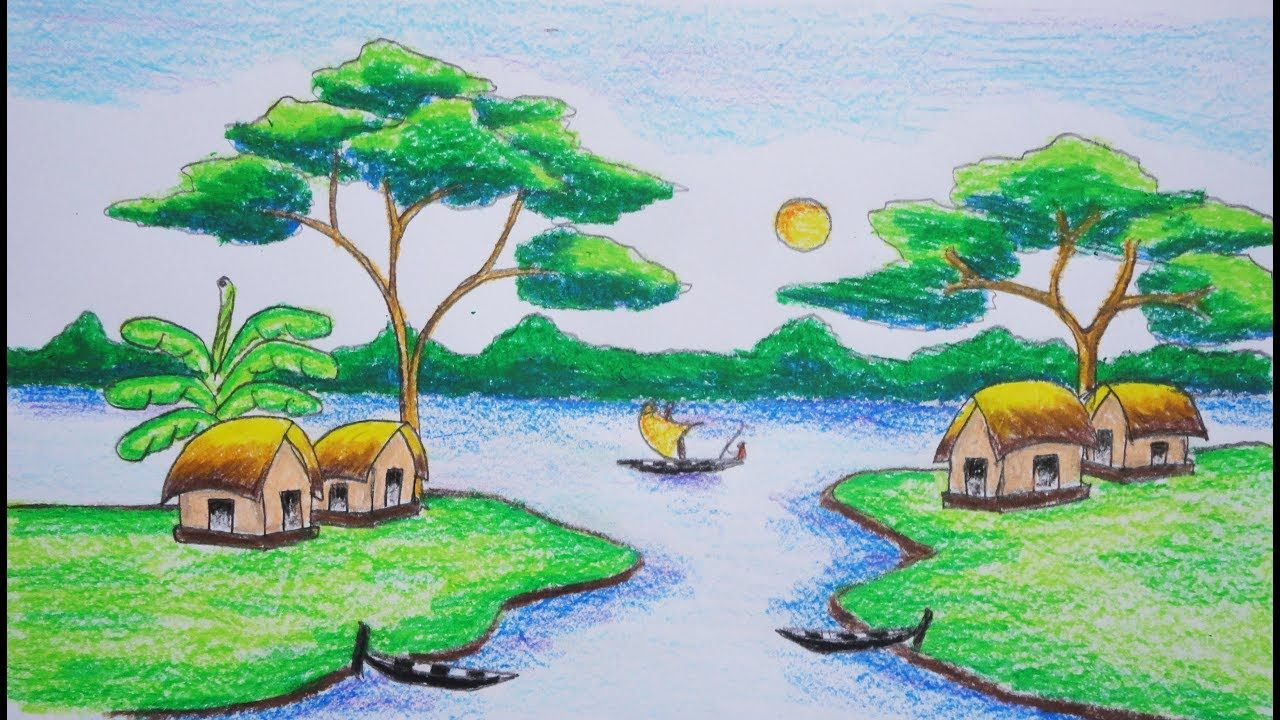 How to draw a village scenery very easy step by step this steps are very easy