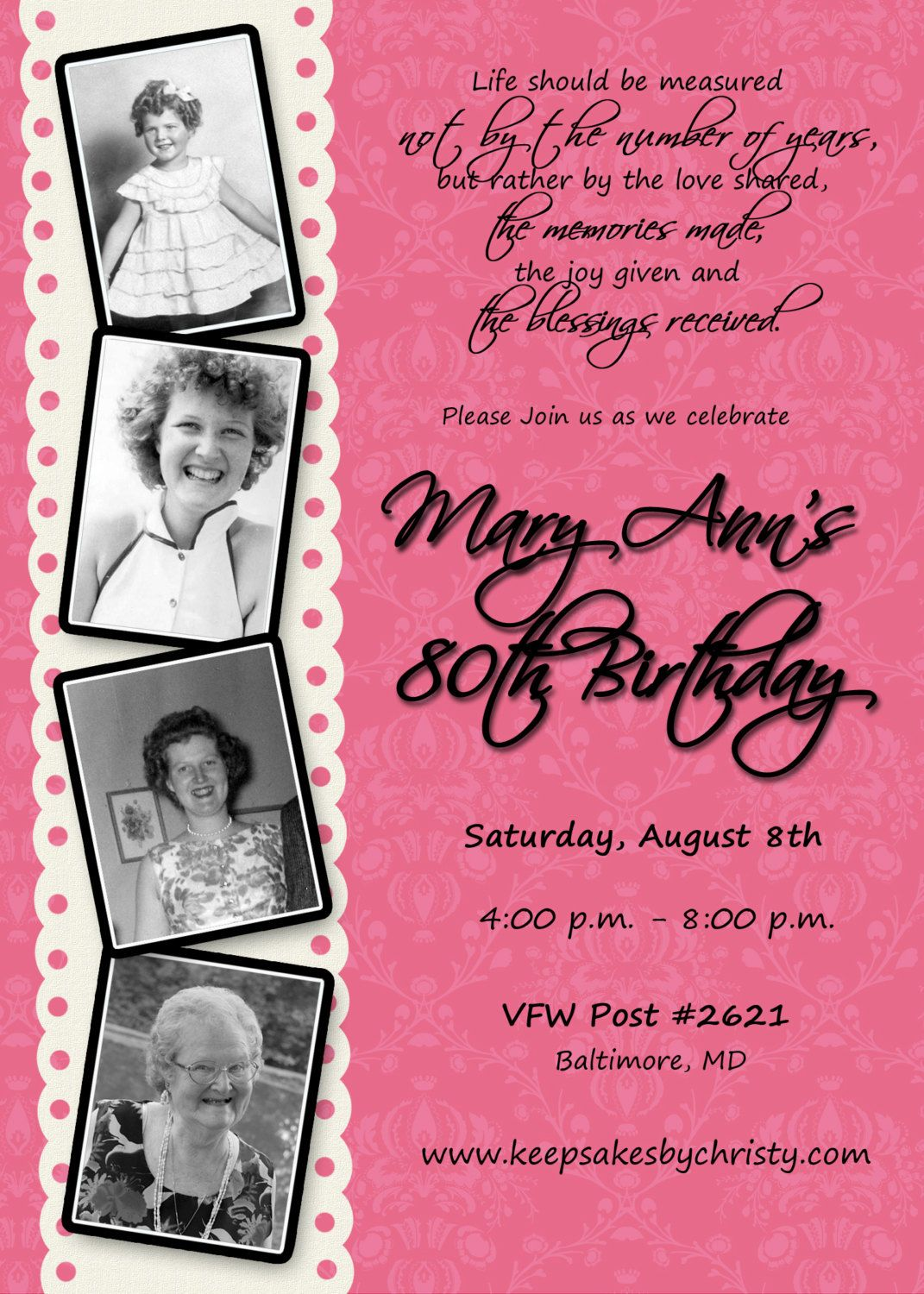 Custom Birthday Invitation 30th 40th 50th 60th 70th 75th 80th 90th 1095 Via Etsy