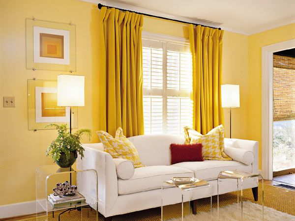 Love The Yellow Curtains On Yellow Walls Living Room Design