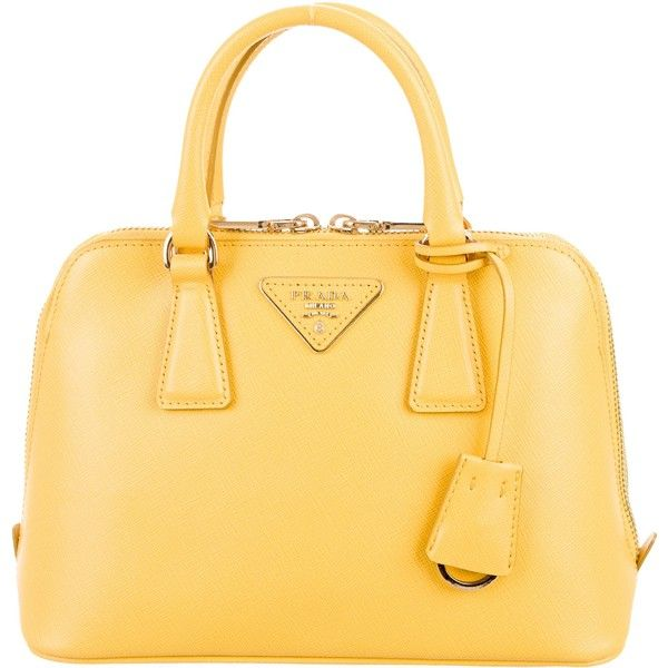 c98fd10155d Pre-owned Prada Saffiano Small Promenade Bag ($995) ❤ liked on Polyvore  featuring bags, handbags, yellow, zipper bag, purse bag, zip purse, zipper  purse ...