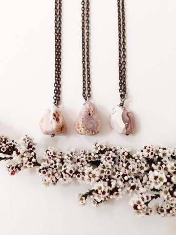Agate Mineral Specimen | Wildthorne jewels. Agate + Sterling Silver +Brass necklace