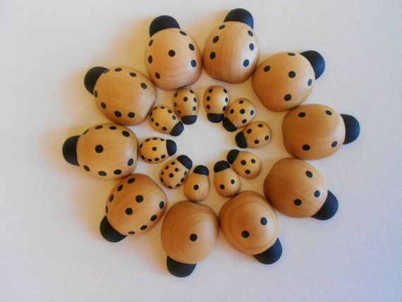 Counting game of math numbers wood ladybug by laughingcrickets