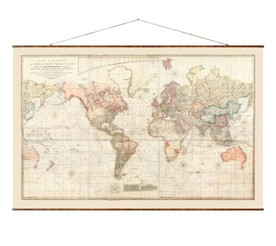 Chart of the World 1808 Our reproductions of vintage maps are