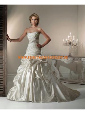 Herz-Ausschnitt schönes Brautkleid aus Taft Bodenlang Herz-Ausschnitt Trägerlos