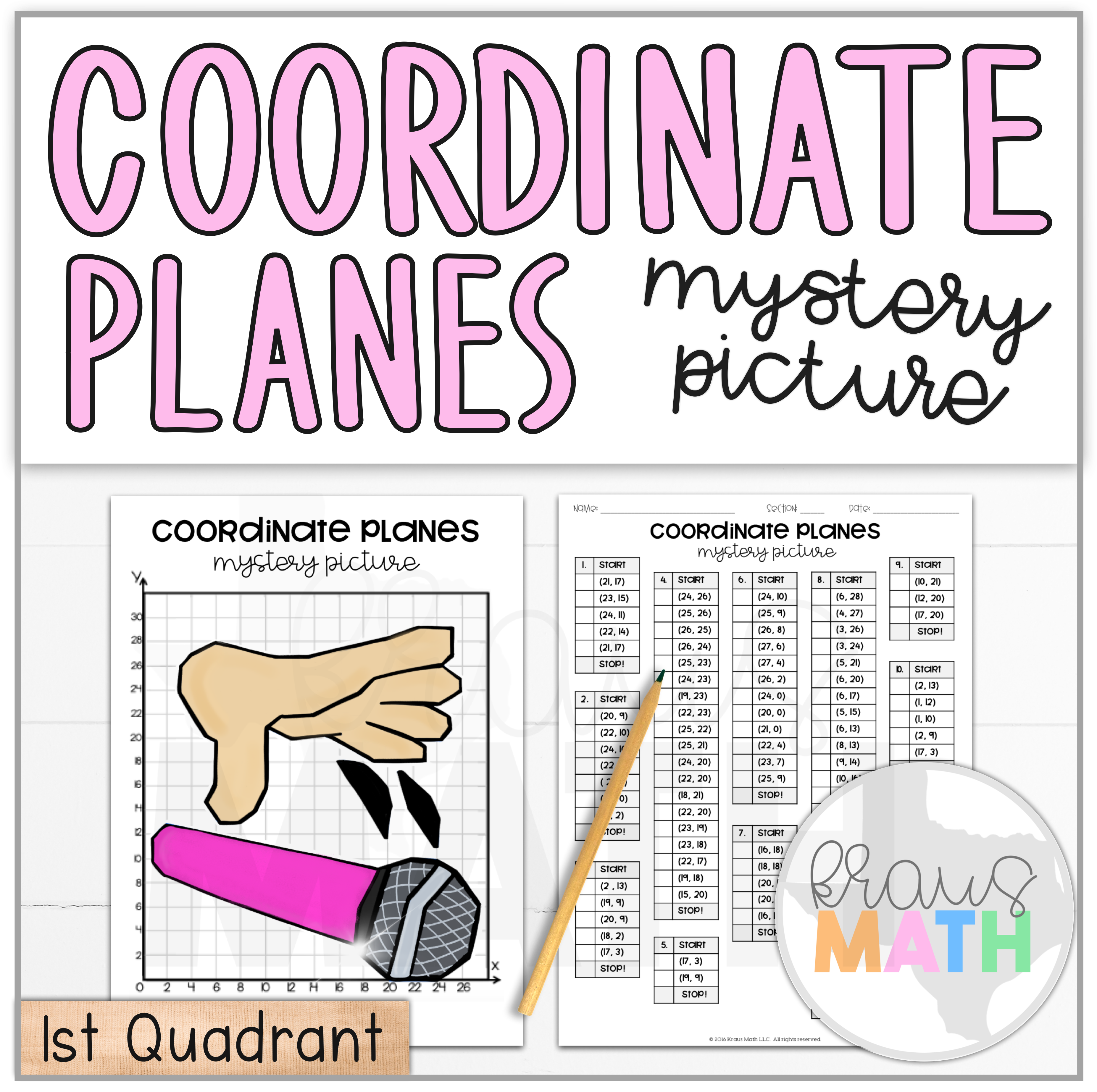 Mic Drop Coordinate Plane Activity 1st Quadrant