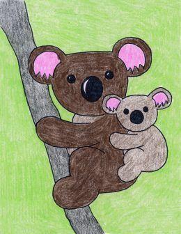 Draw a Koala Bear · Art Projects for Kids. Learn how to draw a koala bear, and then add a baby. This may look detailed, but it's really just one bear drawn in two sizes. #howtodraw #freeprintable #koalabear koala bear | koala bear drawing | koala bear tattoo | koala bear crafts | koala bear baby | koala bear cute | koala bear illustration | koala bear art | Eva Koala Bears | Koala Bear Hugs | Koala de Bear | koala necklace | koala necklace pendants | koala necklace sterling silver | koala bear n