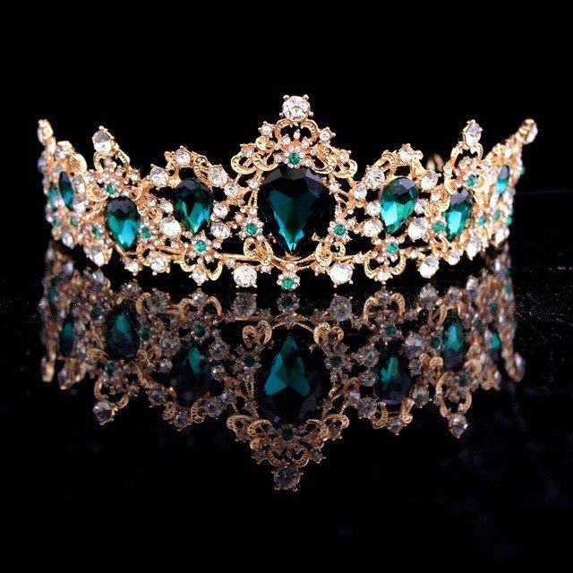 US $3.37 31% OFF|Barock Crown Rot Blau Grün Kristall Braut Diademe Crown Vintage Gold Haar Zubehör Hochzeit Strass Diadem Pageant Kronen|Haarschmuck| - AliExpress