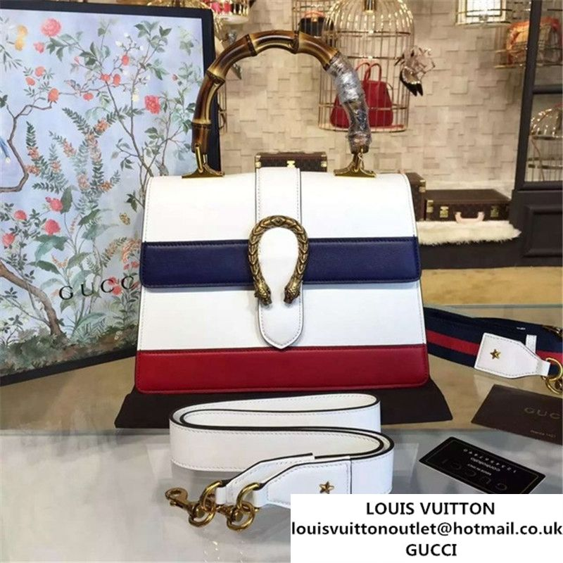 e132efe96b47 Gucci Dionysus Leather Bamboo Large Top Handle Bag Fall Winter 2016  Collection White Navy Blue Hibiscus Red