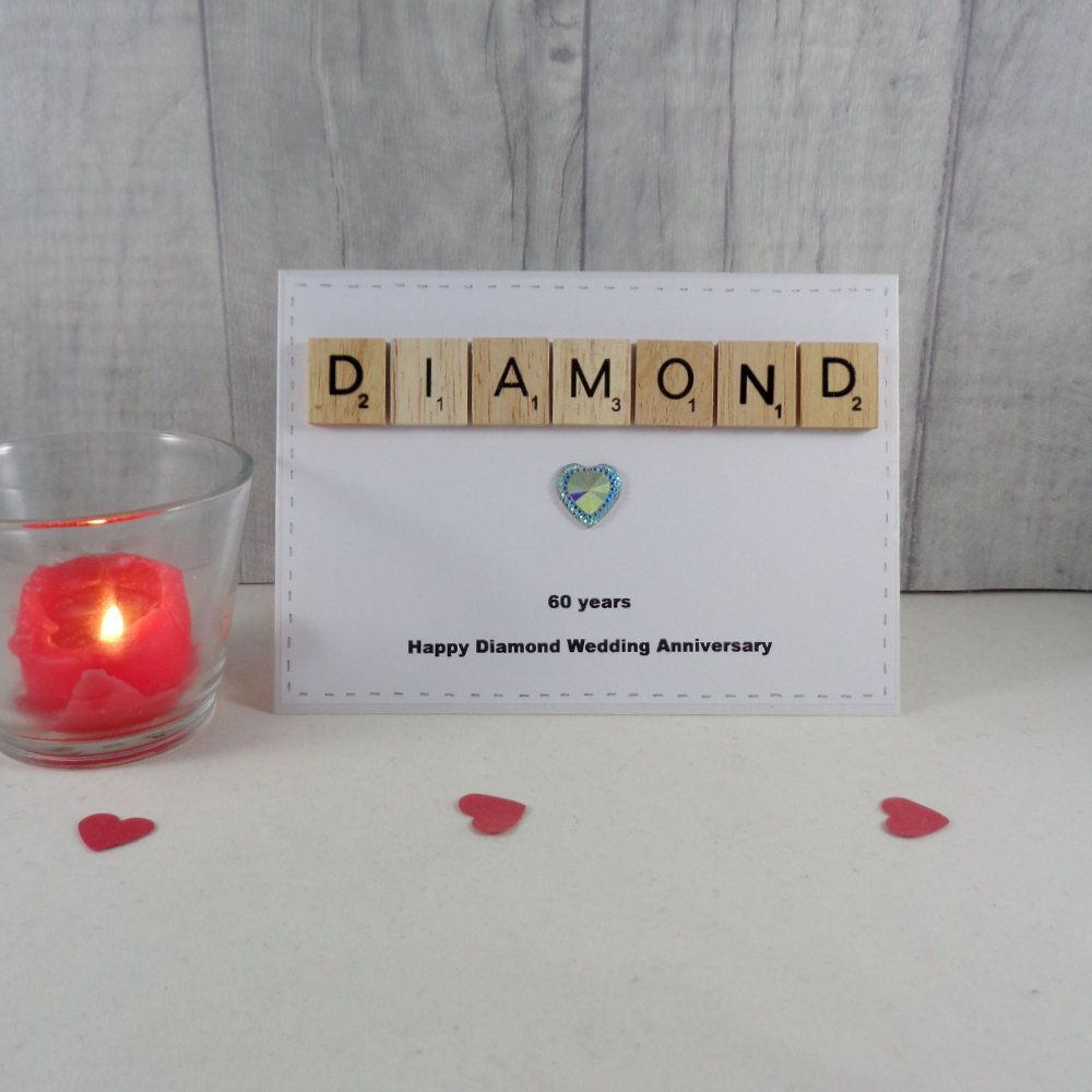 Diamond Wedding Anniversary Card Happy Anniversary Married 60