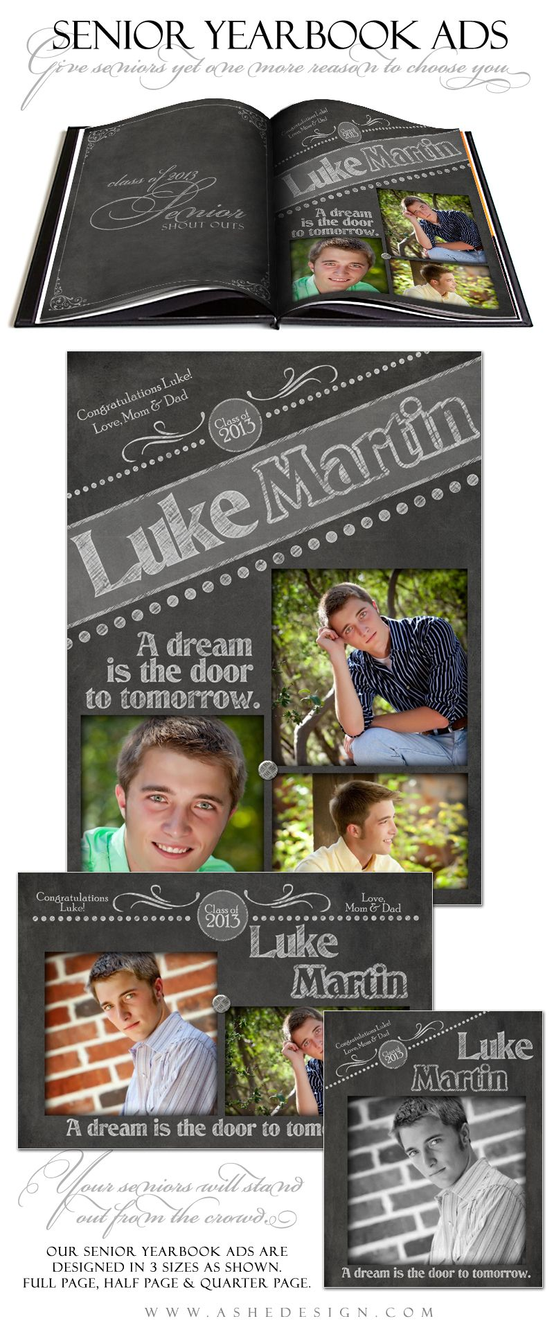 Senior Yearbook Ad Template Designs for Photographers - ashedesign ...