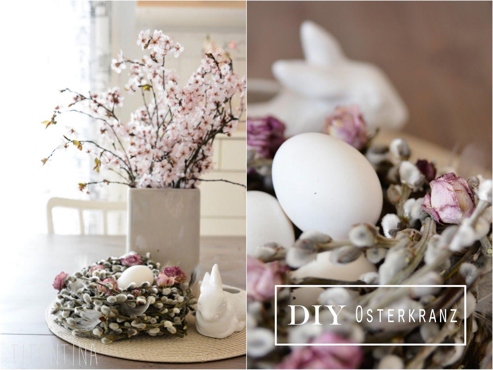 Titantina s Ideen DiY Palmkätzchen Kranz mit Federn und Rosen
