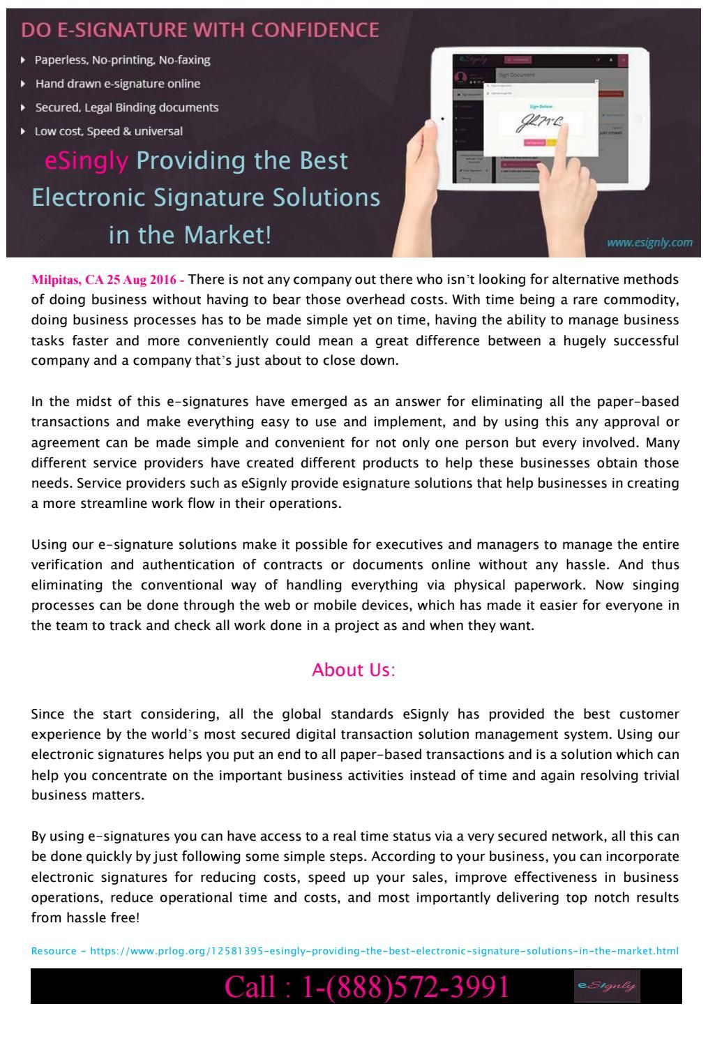 Esingly Providing The Best Electronic Signature Solution Electronic Signature Solutions Electronics