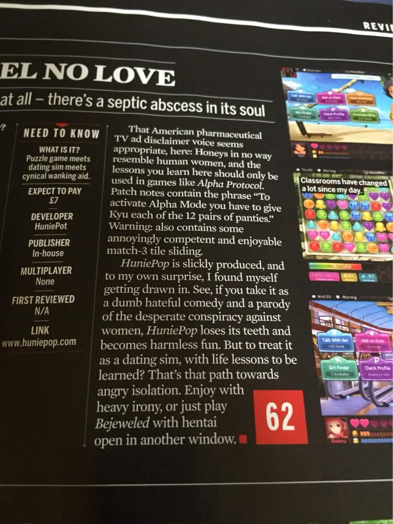 PC Gamer UK crying about #huniepop's non-PC humour.  #GamerGate