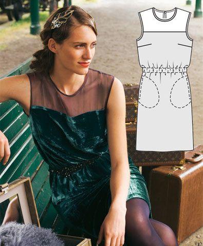 Burdastyle Pattern Store Illusion Neckline Dress Illusion Neckline Green Velvet Dress