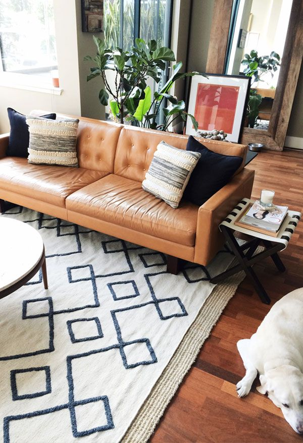 Top 5 Ways To Style A Camel Leather Sofa | Mid century living room  IH38